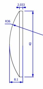 Plano-convex lens drawing